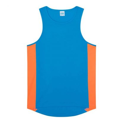 Polyester Cool Contrast Vest - JC008-SAPPHIRE-BLUE_ELECTRIC-ORANGE-(FLAT)