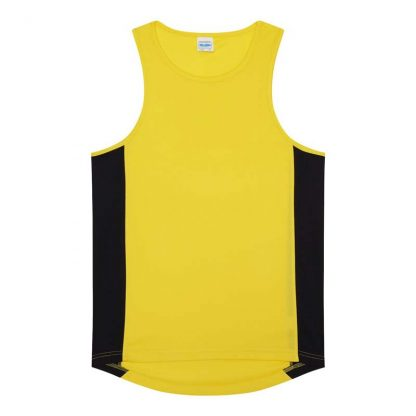 Polyester Cool Contrast Vest - JC008-SUN-YELLOW_JET-BLACK-(FLAT)