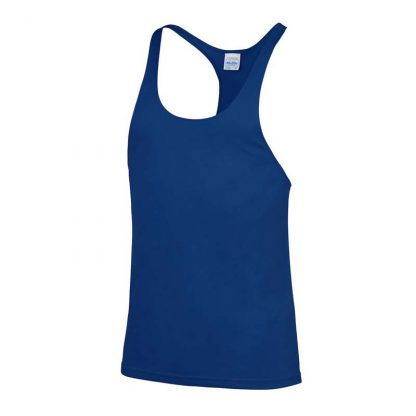 Polyester Gym Fit Muscle Vest - JC009-ROYAL-BLUE-(FRONT)