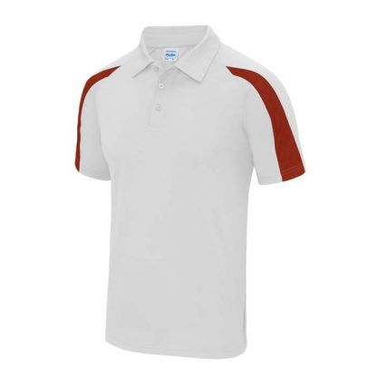 Contrast Cool Polo - JC043-ARCTIC-WHITE_FIRE-RED-(FRONT)
