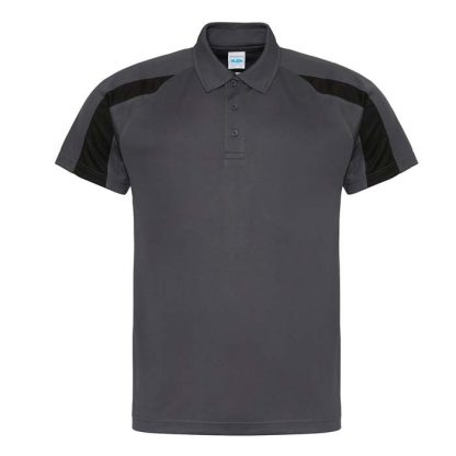 Contrast Cool Polo - JC043-CHARCOAL_JET-BLACK-(FRONT)