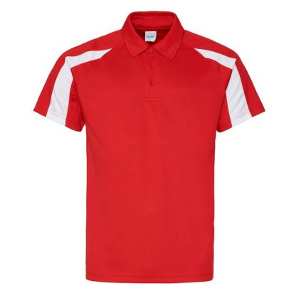 Contrast Cool Polo - JC043-FIRE-RED_ARCTIC-WHITE-(FRONT)