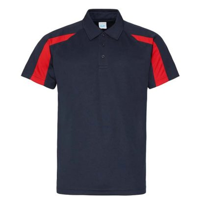 Contrast Cool Polo - JC043-FRENCH-NAVY_FIRE-RED-(FRONT)
