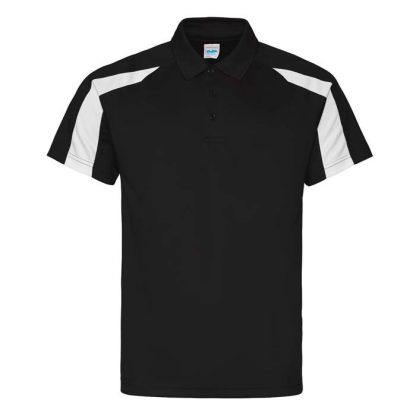 Contrast Cool Polo - JC043-JET-BLACK_ARCTIC-WHITE-(FRONT)