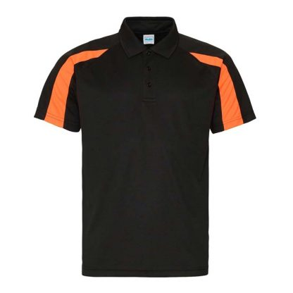 Contrast Cool Polo - JC043-JET-BLACK_ELECTRIC-ORANGE-(FRONT)