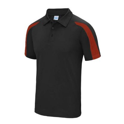 Contrast Cool Polo - JC043-JET-BLACK_FIRE-RED-(FRONT)