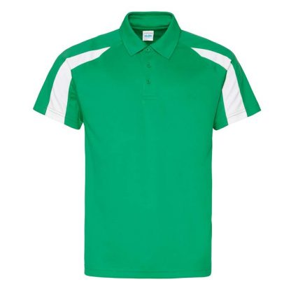 Contrast Cool Polo - JC043-KELLY-GREEN_ARCTIC-WHITE-(FRONT)