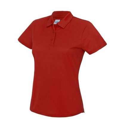 Girlie Cool Polo - JC045-FIRE-RED-(FRONT)